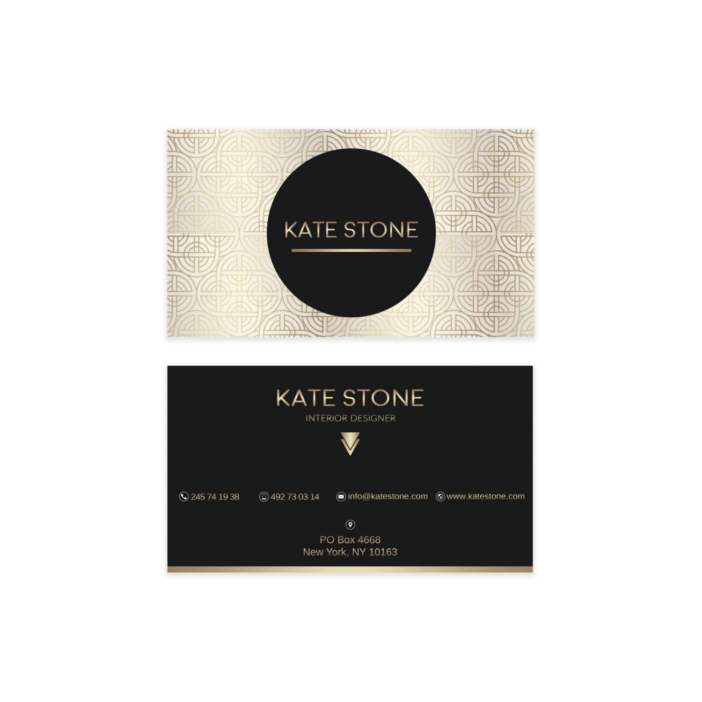 Diseño oro negro tarjeta de visita tarjetas de visita de | Etsy
