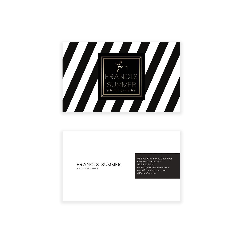 Negro y blanco diseño de tarjeta de visita de Chevron rayas | Etsy
