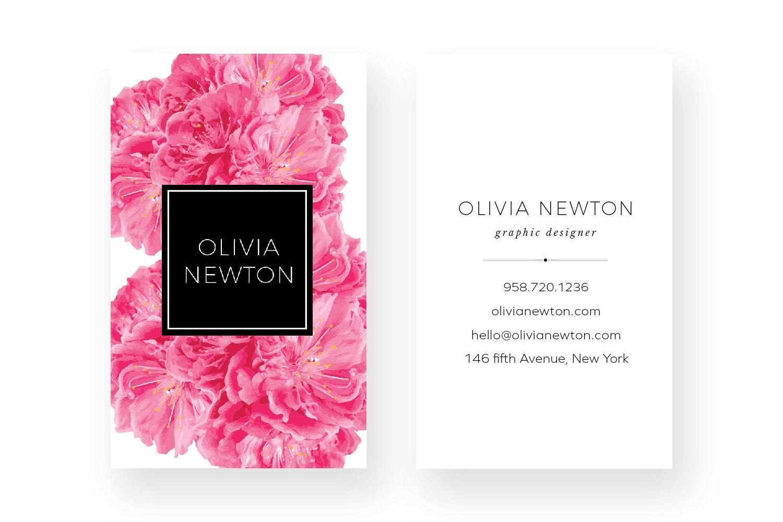 Rosa peonía diseño de tarjeta de visita tarjetas Taupe | Etsy