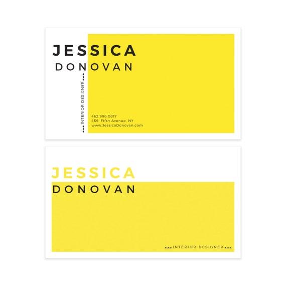 Yellow minimalist business card design scandinavian business etsy image 0 colourmoves
