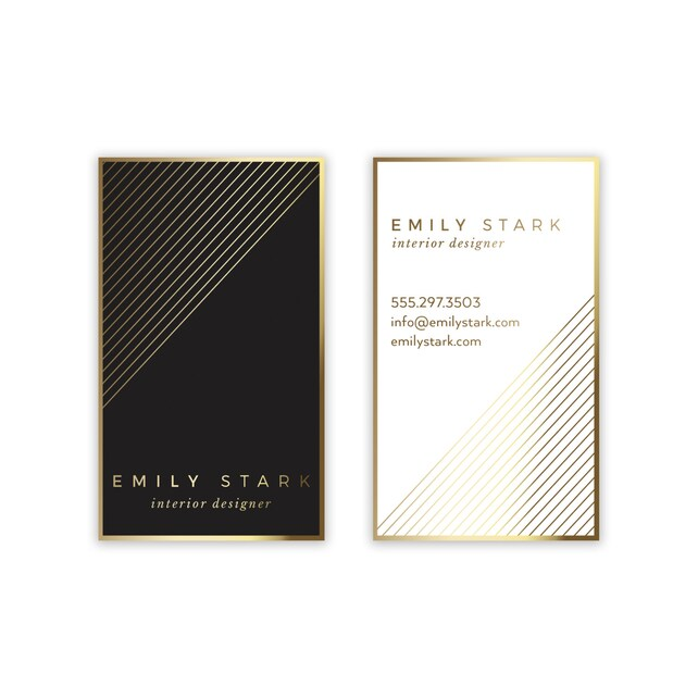 picture regarding Printable Business Card Paper identify Gold Black Organization Card Design and style - Chevron Small business Card