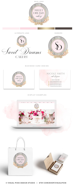 PREMIUM marca paquete lujo panadería Logo Cakery tarjeta | Etsy
