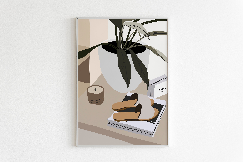 Minimal Living Room Wall Art Print, Abstract Wall Art, Mid Century Modern  Wall Art Printable,Plant Print,Abstract Print,Neutral Gallery Wall