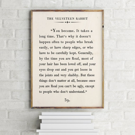 The Velveteen Rabbit Quote Print,Custom Text Print,Inspirational  Motivational Print,Book PageWall Art,Vintage Book Page,Printable Poster