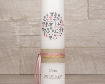 Taufkerze SINA Mädchen mit Name und Datum, individuell, persönlich u. handgemacht 17492