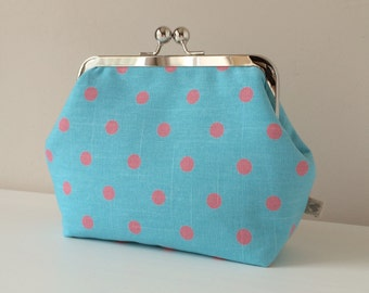 Make Up Bag in Aqua Blue & Pink Spotty Co-ordinating fabric with silver metal kiss-lock frame - Handmade