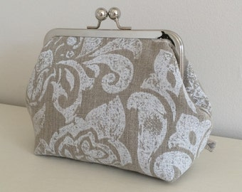Rustic Beige & White Floral Linen fabric Make-Up Bag with kiss lock frame - handmade