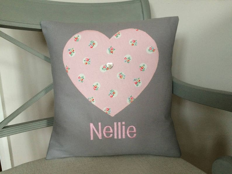 Personalised light grey cushion with applique heart in cath etsy