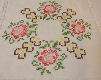 Vintage 1950s Floral Cross-stitch Doily