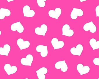 Euro Oeko-Tex Hot Pink Hearts Knit Fabric 1 yard