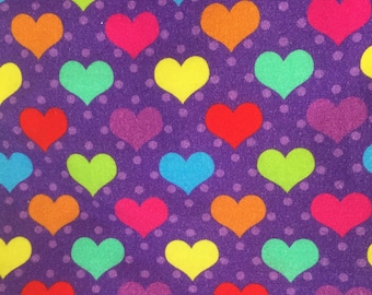 Euro Oeko-Tex Rainbow Hearts in Purple Knit Fabric 1/2 yard