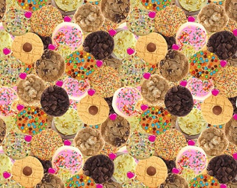 Euro Oeko-Tex Chocolate Chip Cookies Knit Fabric 1/2 yard