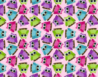 Euro Oeko-Tex Owl Cookies Knit Fabric 1 yard
