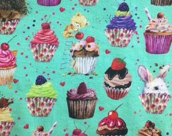 Euro Oeko-Tex Knit Cupcake Party Fabric 1/2 yard