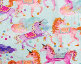 Euro Oeko-Tex Aqua Unicorns CL Knit Fabric 1 yard