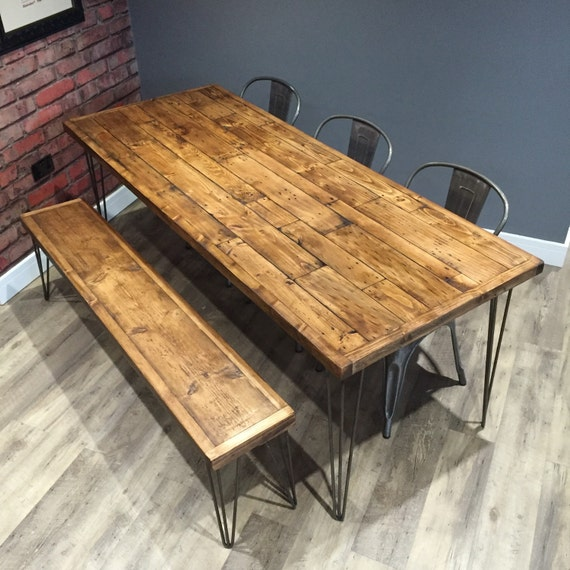 Marvelous Table And Bench Industrial Dining Table Bench Wood Table Table Bench Set Reclaimed Table Hairpin Legs Matching Bench Handmade Table Ibusinesslaw Wood Chair Design Ideas Ibusinesslaworg