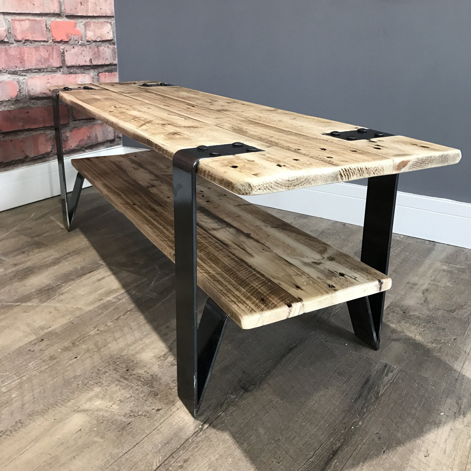 Reclaimed Industrial Pallet Wood Coffee Table With Steel
