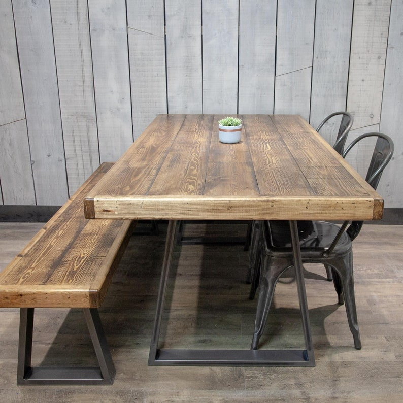 Fine Industrial Dining Table And Bench With Steel Trapeze Legs Home Interior And Landscaping Eliaenasavecom