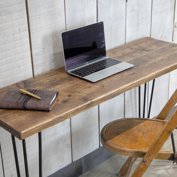 official photos f2467 0a619 Reclaimed Wood Desk, Industrial Home Computer Desk Handmade with Hairpin  Legs