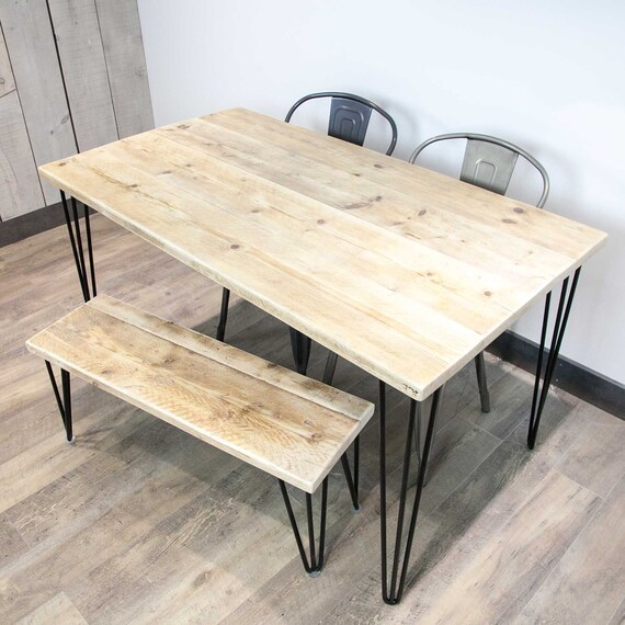 Dining Table, Desk, Kitchen Table, Rustic, Industrial, Vintage, Farmhouse,  Hairpin Legs, Table and Bench, Reclaimed, Industrial Table, Wood