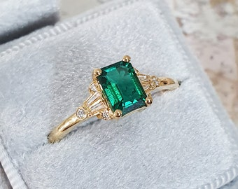 Emerald and diamond emerald cut engagement ring in white/rose/yellow gold or platinum for her handmade ring UK
