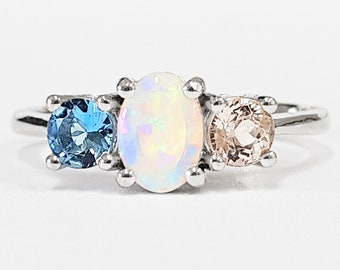 0576051026960e Opal, morganite and aquamarine engagement ring handmade trilogy three stone  in rose/white/yellow gold or platinum unique