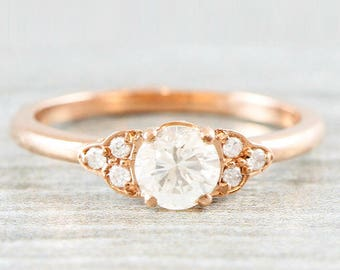 Diamond rose gold engagement ring art deco 1920's inspired thin petite band 14k unique ring for her