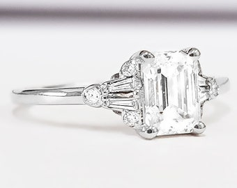Moissanite and diamond emerald cut engagement ring in white/rose/yellow gold or platinum for her handmade ring UK