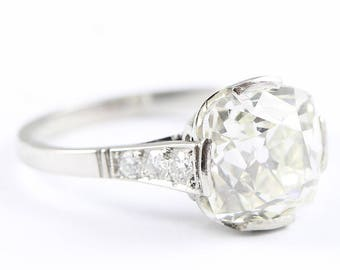 Art deco 1920's 4 carat cushion cut diamond solitaire ring in platinum antique one of a kind