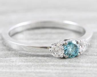 Blue diamond engagement ring 3 stone diamond ring handmade in 18 carat gold for her