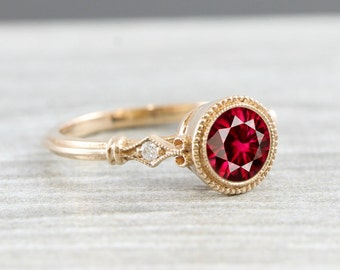 Ruby and diamond art deco 1920's three stone trilogy engagement petite minimal thin ring handmade in 14 carat rose/yellow/white gold