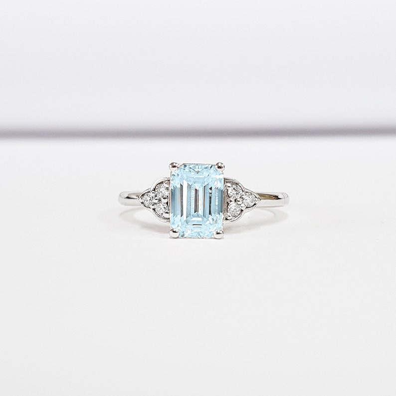 bc863a7321906 Emerald cut Aquamarine and Diamond engagement ring antique 1920s inspired  handmade in rose/white/yellow gold