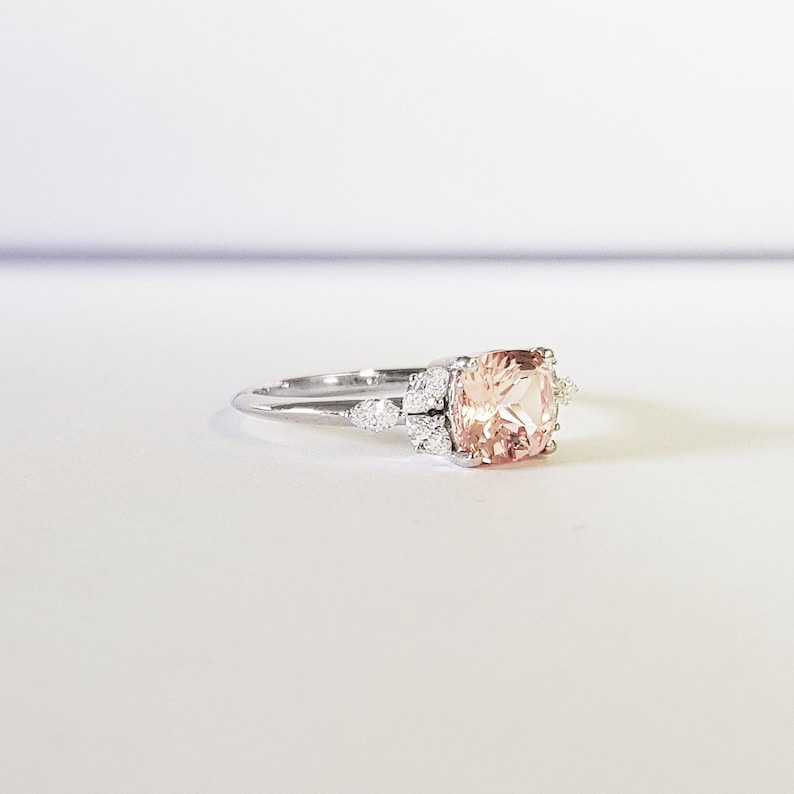 Cushion cut Champagne sapphire and marquise Diamond engagement image 0