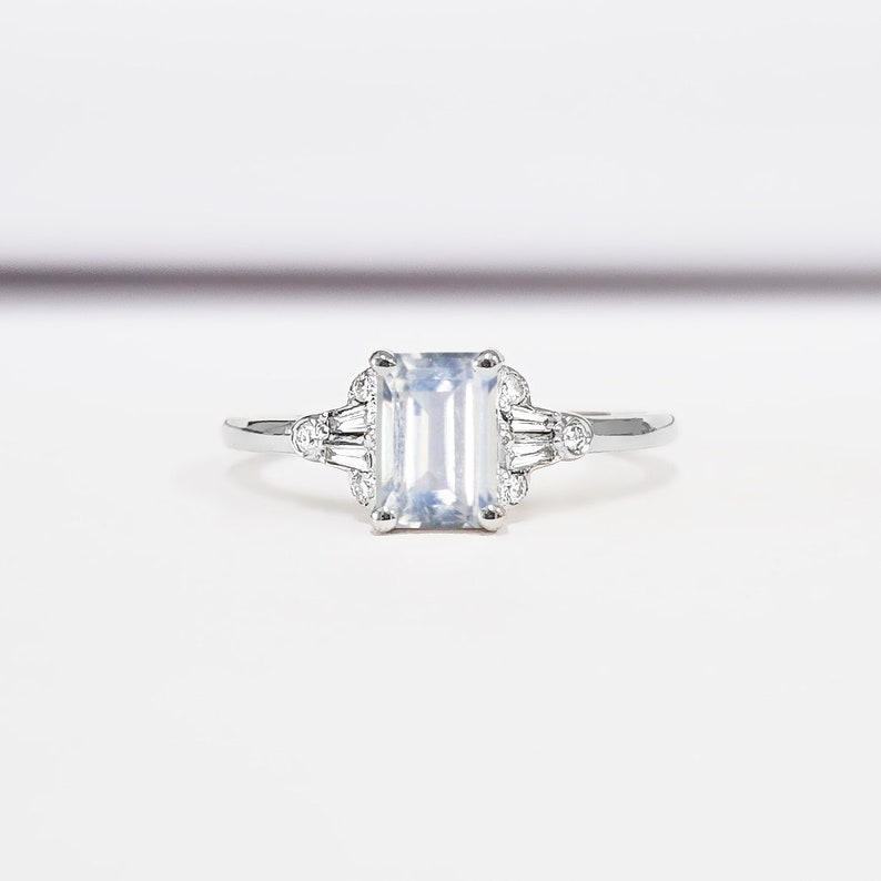 ef654363c3d4f Moonstone and diamond emerald cut engagement ring in white/rose/yellow gold  or platinum for her handmade ring UK