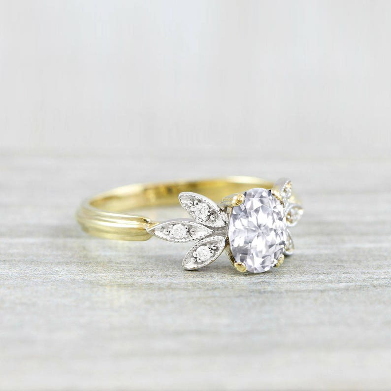 b105ec76b582a Natural oval white sapphire and diamond engagement solitaire nature  inspired leaf ring in gold or platinum handmade for her UK