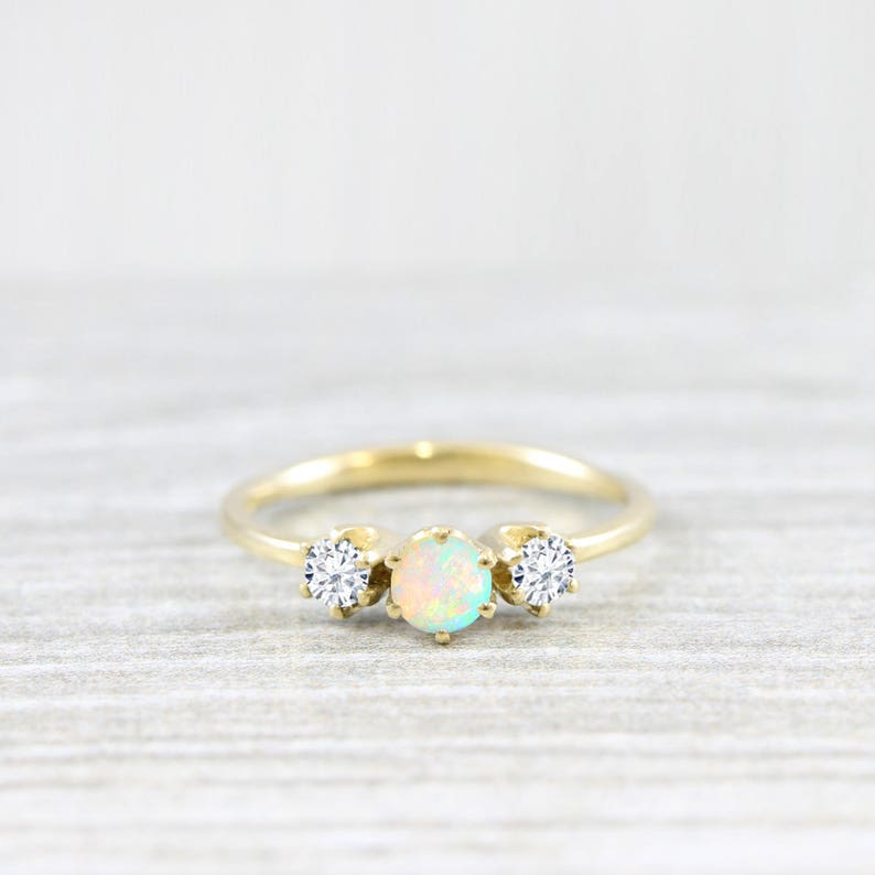 c7d1d52a07360b Opal and diamond/moissanite trilogy 3 stone engagement ring | Etsy