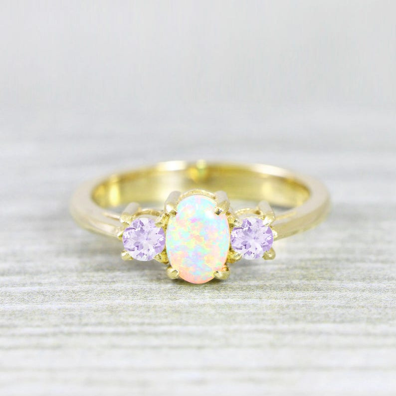221f03822616bd Opal and amethyst engagement ring handmade trilogy three stone | Etsy