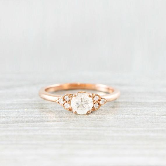 Diamond Rose Gold Engagement Ring Art Deco 1920 S Inspired Etsy
