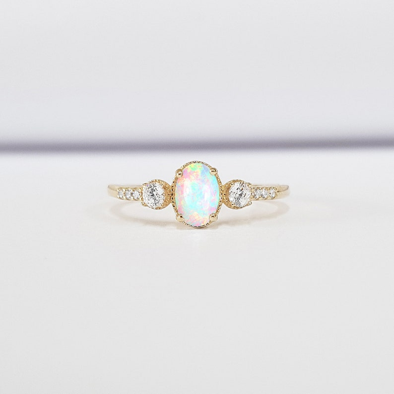 449f1140dd6401 Oval opal diamond milgrain trilogy 3 stone engagement ring | Etsy