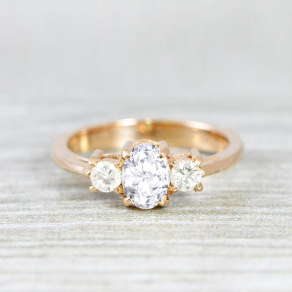 9fc56a8158942 Oval natural white sapphire and diamond three stone trilogy engagement ring  in gold or platinum for her handmade ring UK