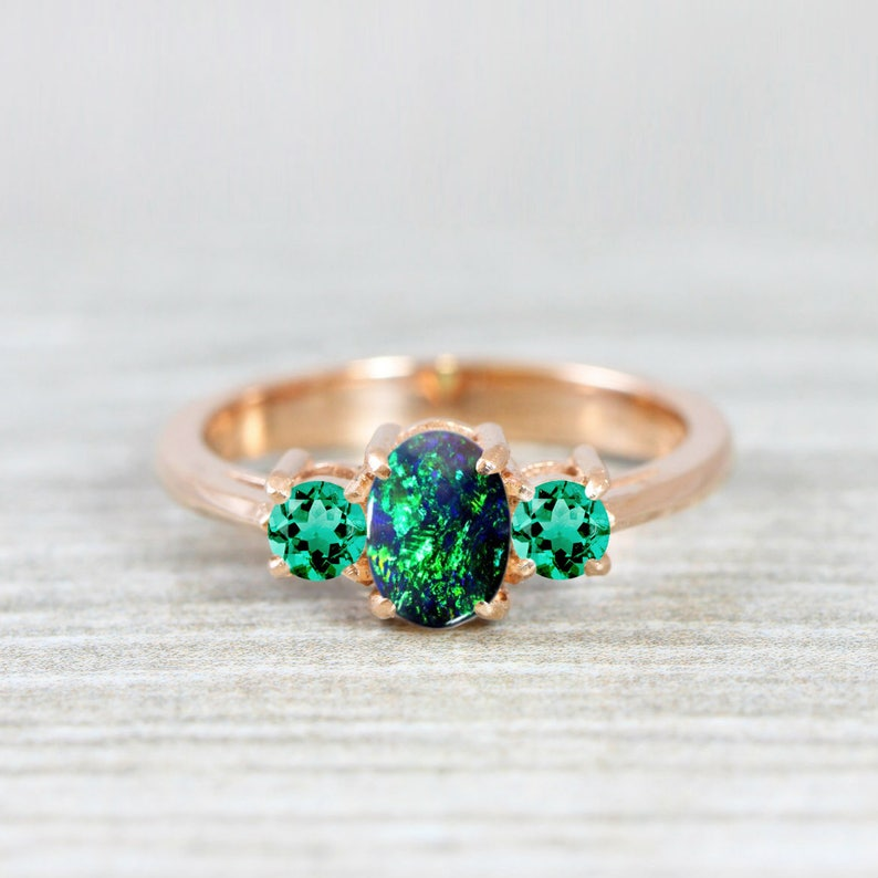 b4be7d12749a2a Black opal and emerald engagement ring handmade trilogy three | Etsy