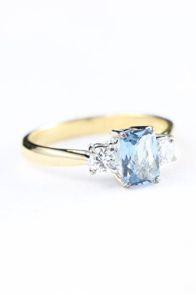 Aquamarine And Diamond Engagement Ring In 18 Carat Gold