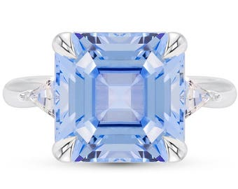 Asscher Cut Blue Spinel Ring - Aquamarine Blue 3 Stone Ring - Asscher Cut Aquamarine Blue Engagement Ring - White Sapphire 3 Stone Ring