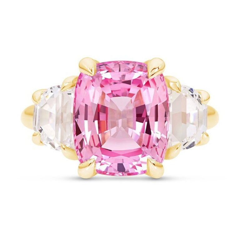 Cushion Cut Pink Sapphire Three Stone Ring In 14k Yellow Gold Padparadscha Sapphire Yellow Gold Engagement Ring Peach Sapphire Ring