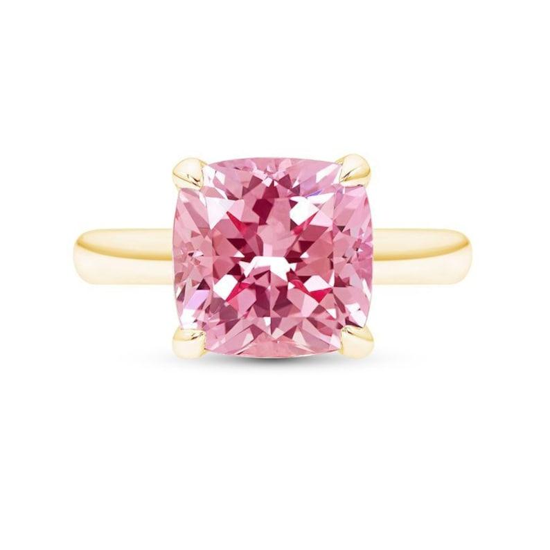 Cushion Cut Pink Sapphire Ring In 14k Yellow Gold Pink Sapphire Ring Square Pink Sapphire Solitaire Peach Sapphire Gold Ring