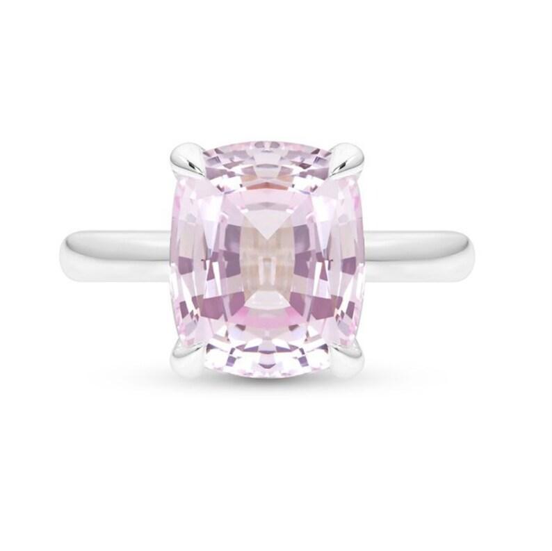 Light Pink Sapphire Ring Cushion Cut Pink Sapphire Engagement Ring Cushion Cut Pink Sapphire Solitaire Pink Diamond Alternative Ring