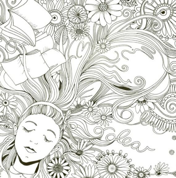 Alice in wonderland Dibujo para colorear | Etsy