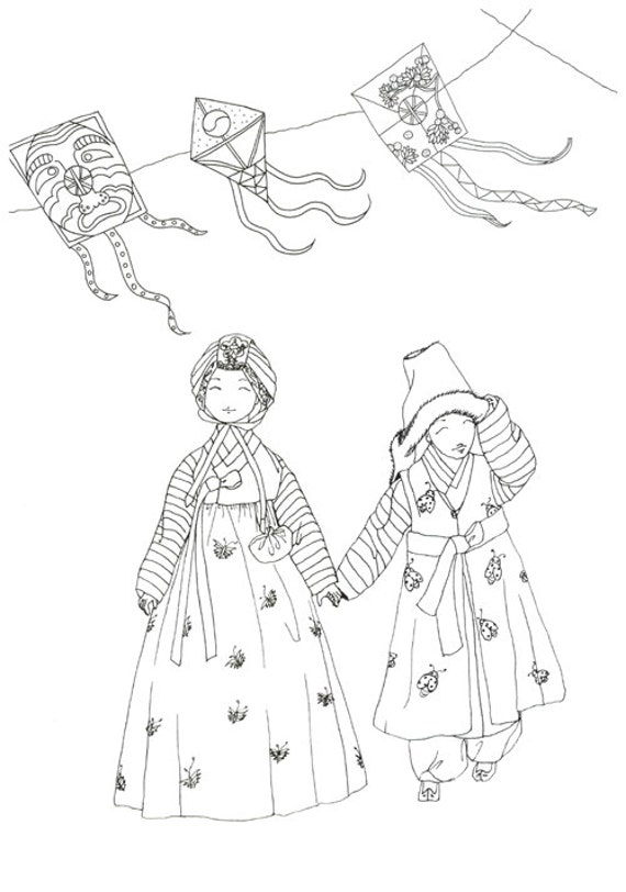 Korean Traditional Cloth Hanbok Coloring Book Etsy - Korean-hanbok-coloring-pages