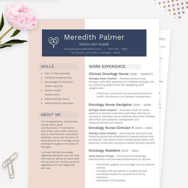Oncology Nurse Resume, Cover Letter & References CV Microsoft Word Template  Package