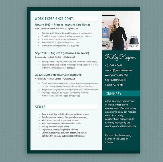Nurse Resume, Cover Letter & References CV Microsoft Word Template Package